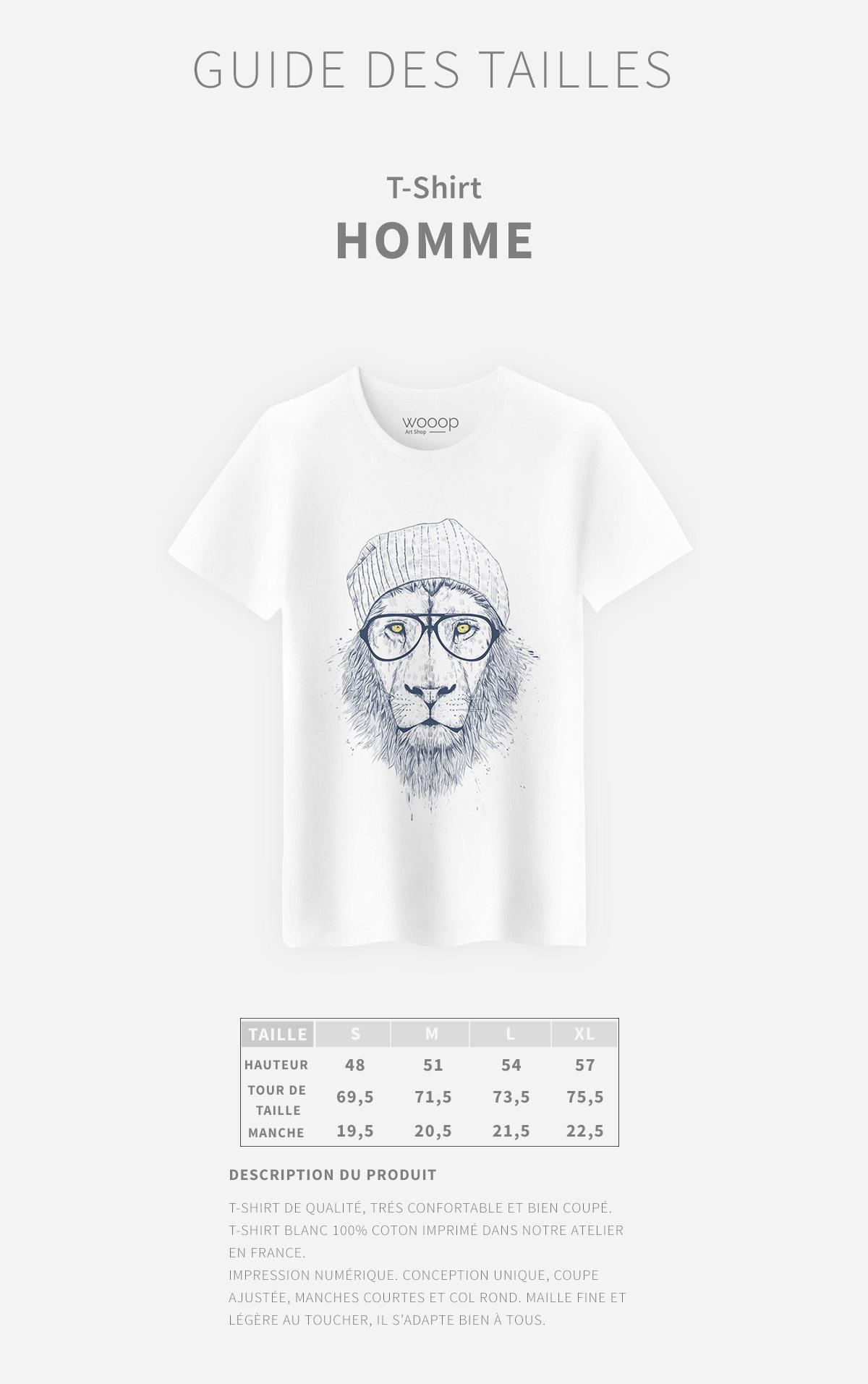 Guide des tailles T-Shirt Homme