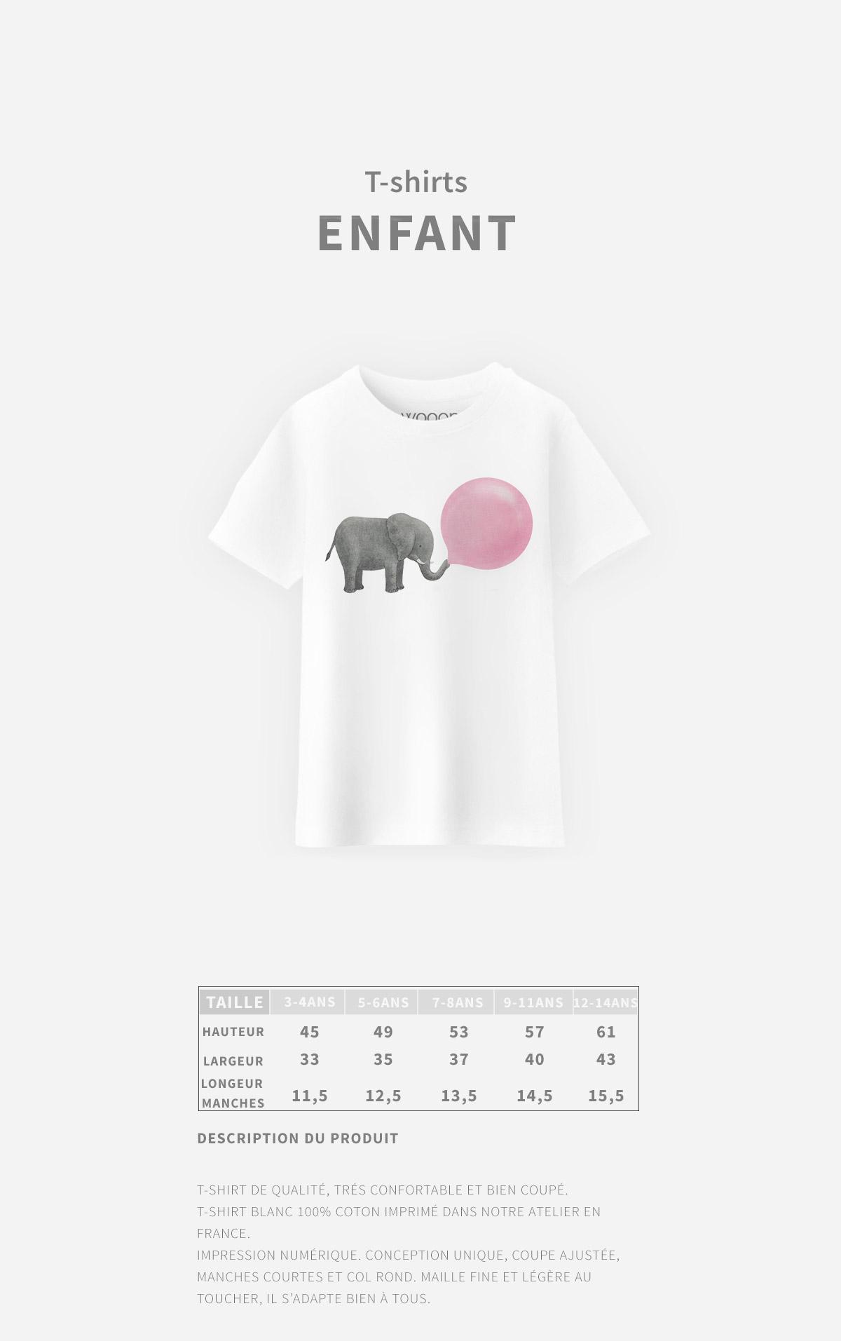 Guides des tailles T-Shirt Enfant