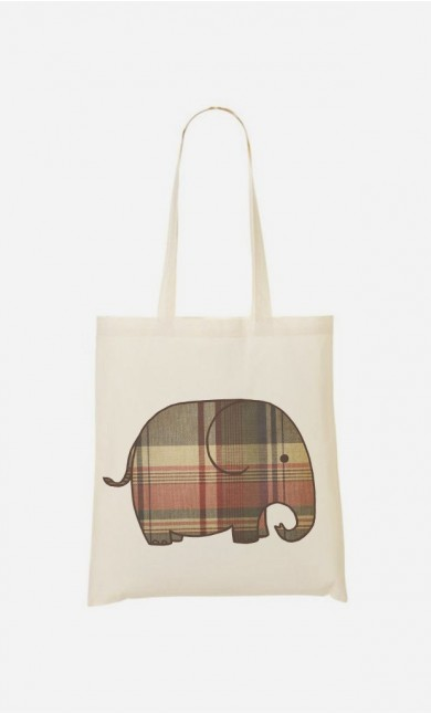 Tote Bag Plaid Elephant