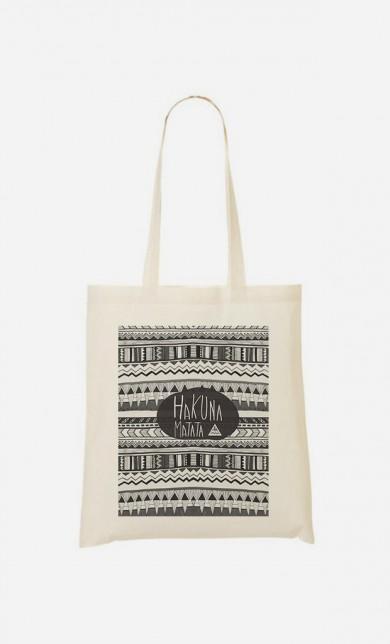 "Tote Bag Trendy ""Hakuna Matata Black"""