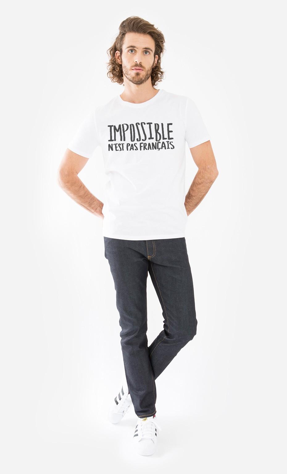 440da076b3043 T-Shirt Homme Impossible N'est Pas Français léger - Wooop