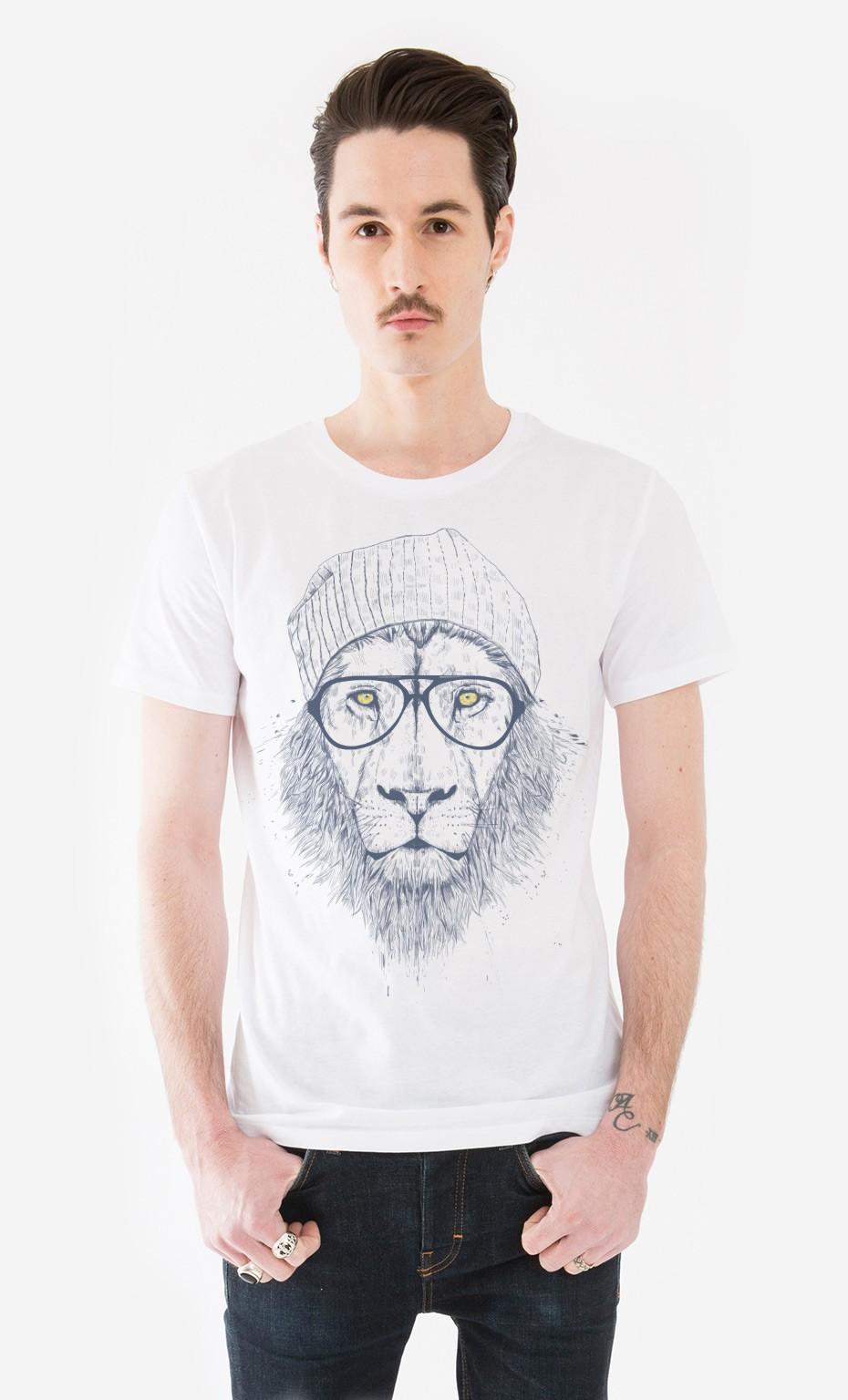 t shirt homme original cool lion l ger coupe droite wooop. Black Bedroom Furniture Sets. Home Design Ideas