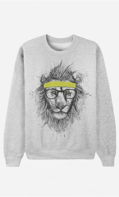 Sweat Homme Hipster Lion