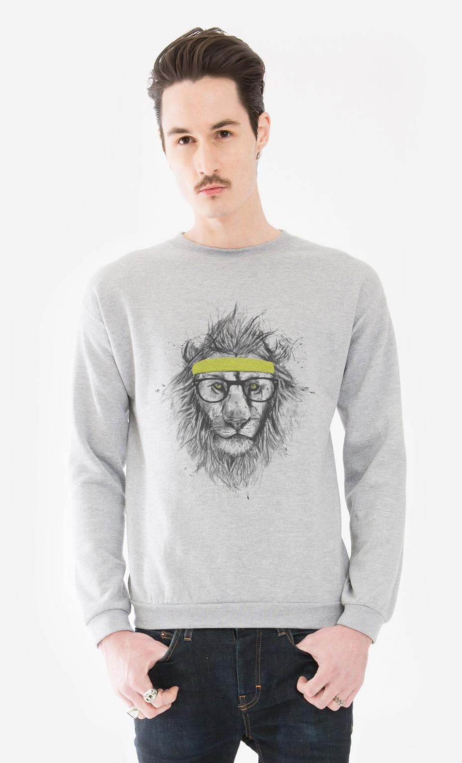 sweat homme hipster lion original et d cal wooop. Black Bedroom Furniture Sets. Home Design Ideas