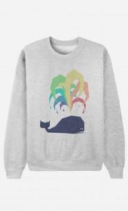 Sweat Femme Rainbow Whale
