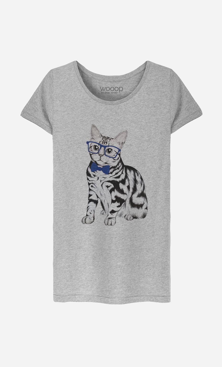 T-Shirt Femme Hipster Cat
