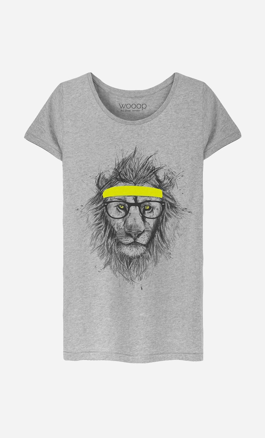 T-Shirt Femme Hipster Lion