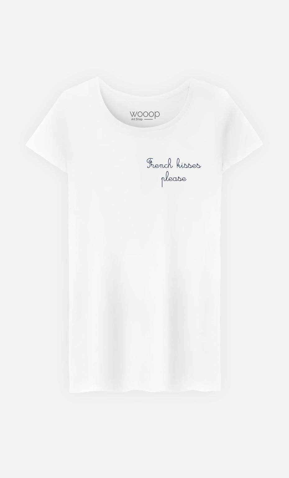 T-Shirt Femme French Kisses Please - Brodé