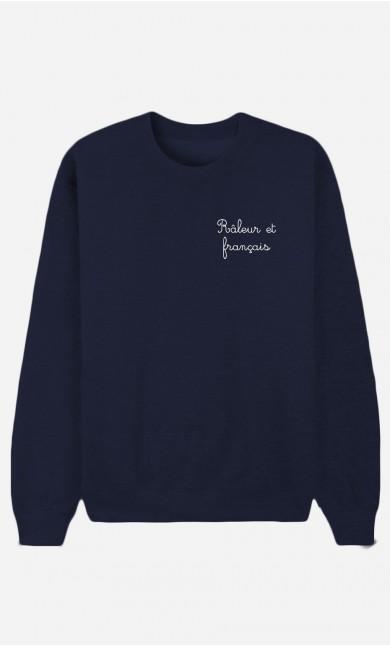 Sweat Bleu Râleur et Français - Brodé