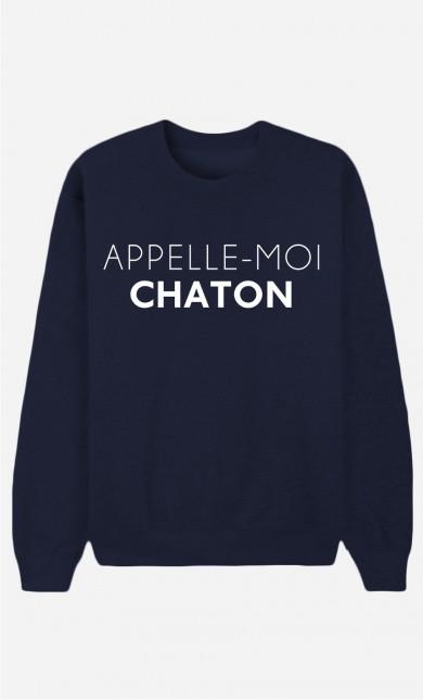 Sweat Bleu Appelle-Moi Chaton