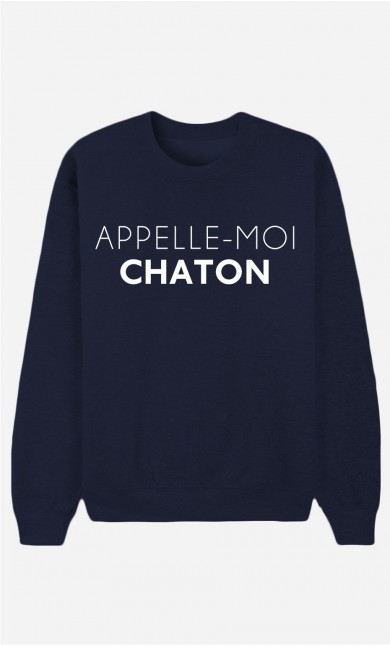 Sweat Bleu Appelle-Moi Chaton