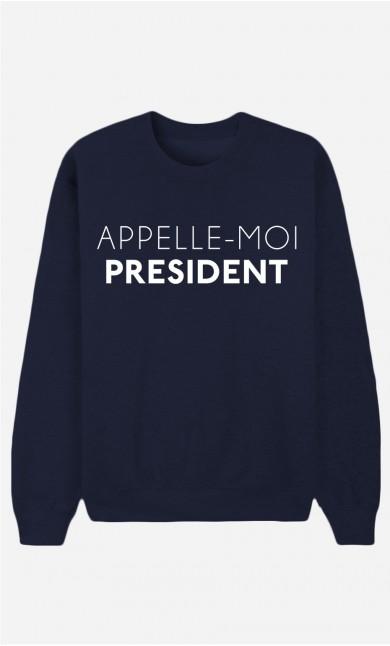 Sweat Bleu Appelle-Moi Président