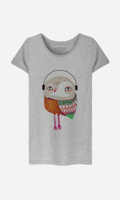 T-Shirt Femme Owl Headphones