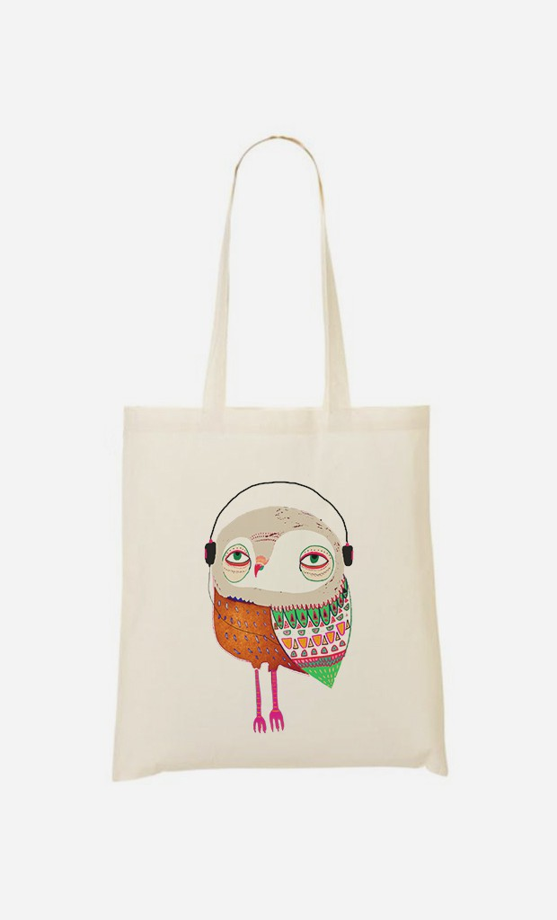 Tote Bag Owl Headphones