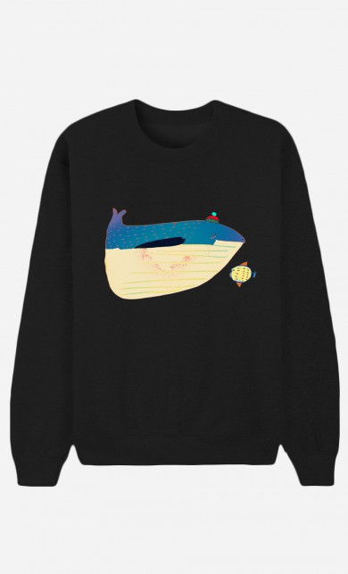 Sweat Noir Whale And Fish