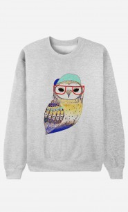 Sweat Homme Hipster Owl