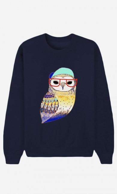 Sweat Bleu Hipster Owl
