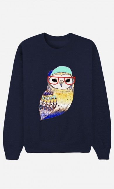 Sweat Bleu Hipster Owl