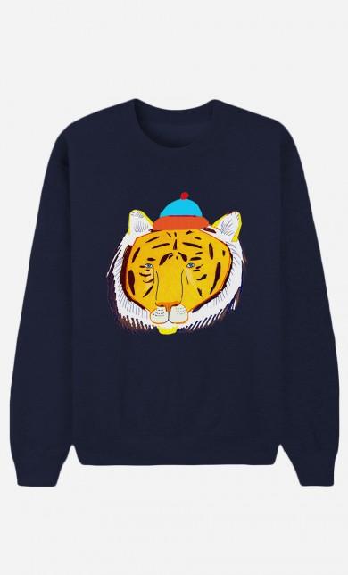 Sweat Bleu Tiger Head