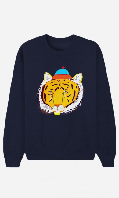 Sweat Bleu Tiger Head