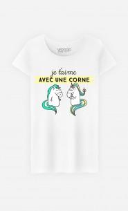 T-Shirt Femme Je t'Aime Avec Une Corne