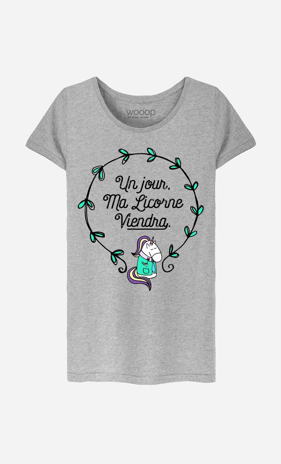 T-Shirt Femme Un Jour Ma Licorne Viendra