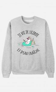 Sweat Femme Je Vis De Licorne et d'Eau Fraiche