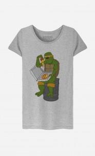 T-Shirt Femme Pizza Turtle