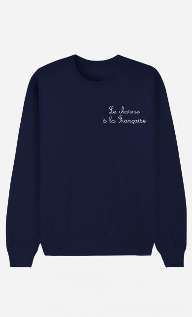 Sweat Bleu Le Charme A La Française - Brodé