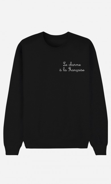 Sweat Noir Le Charme A La Française - Brodé