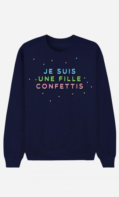 Blue Sweater Je Suis une Fille Confettis