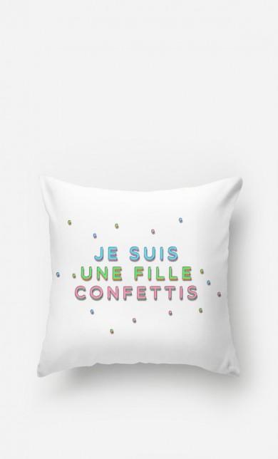 Cushion Je Suis une Fille Confettis