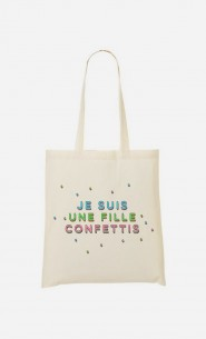Tote Bag Je Suis une Fille Confettis
