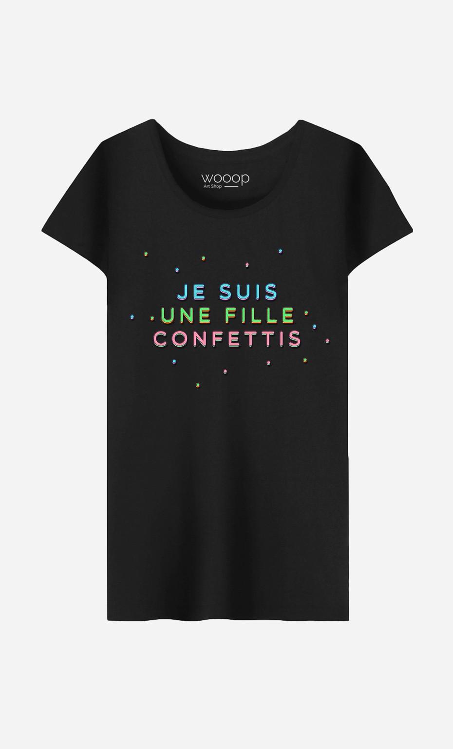 T-Shirt Femme Je Suis une Fille Confettis