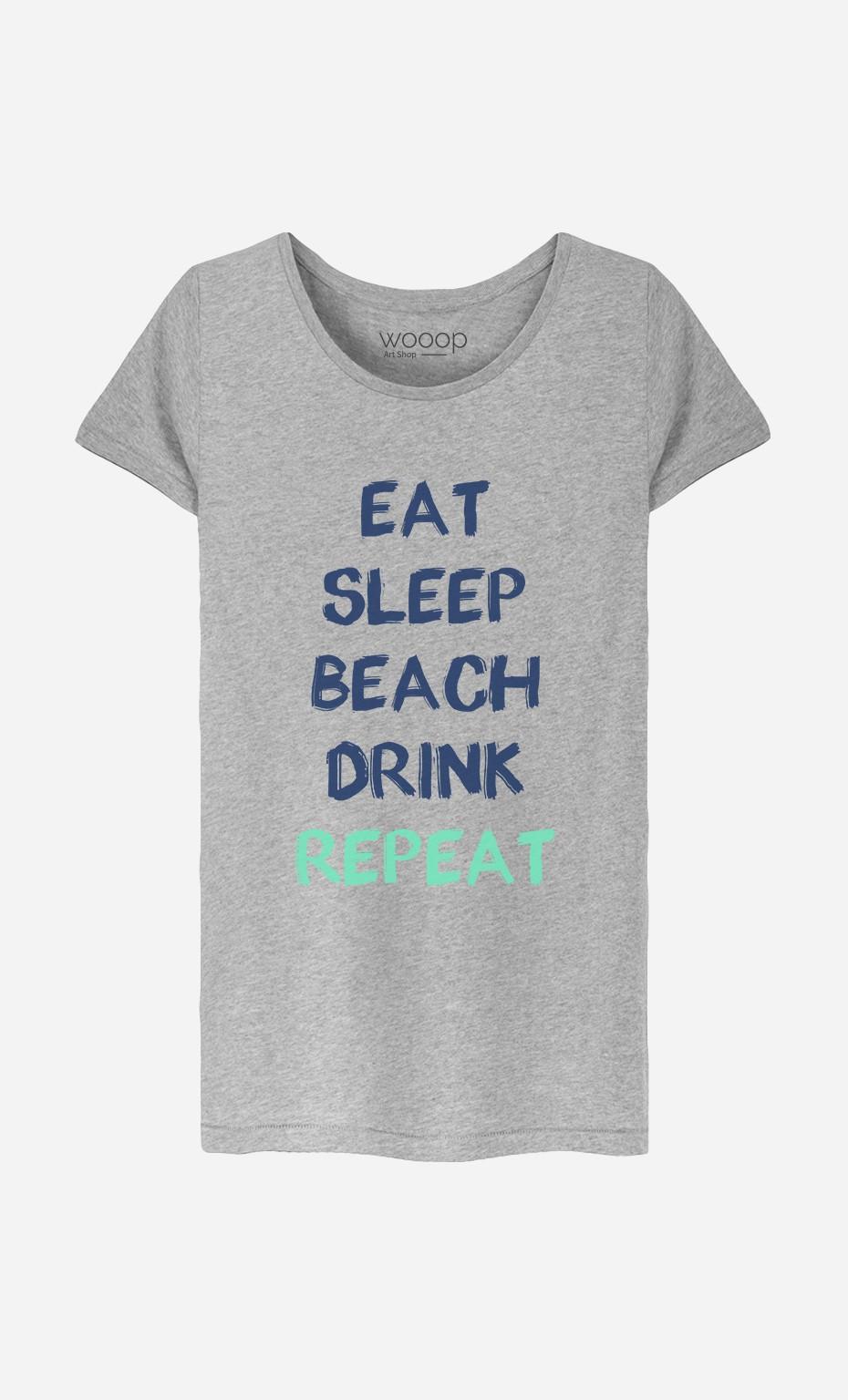 T-Shirt Femme Eat Sleep Beach Drink Repeat
