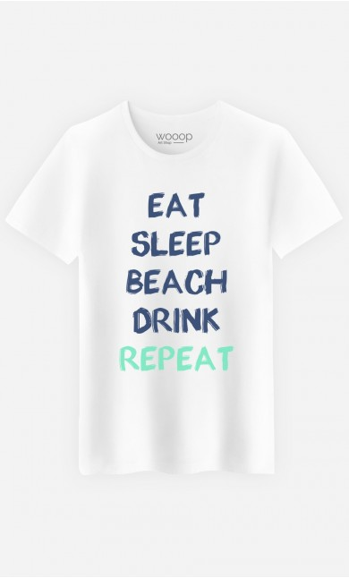 T-Shirt Homme Eat Sleep Beach Drink Repeat
