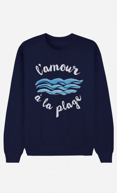 Sweat Bleu L'Amour à la Plage