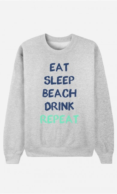 Sweat Homme Eat Sleep Beach Drink Repeat