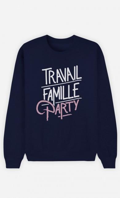 Sweat Bleu Travail Famille Party