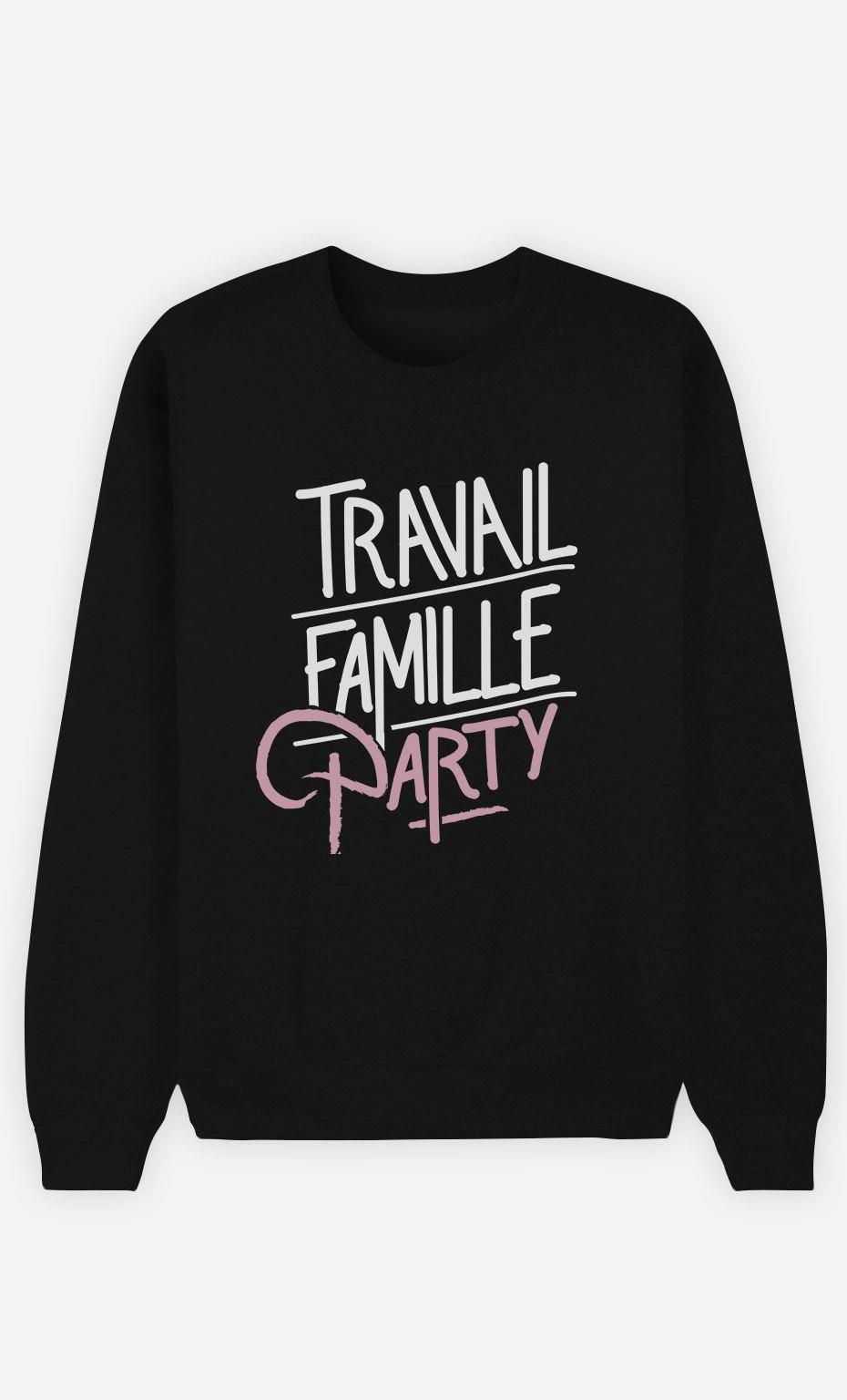 Sweat Noir Travail Famille Party