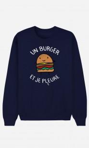 Sweat Homme Un Burger et Je Pleure