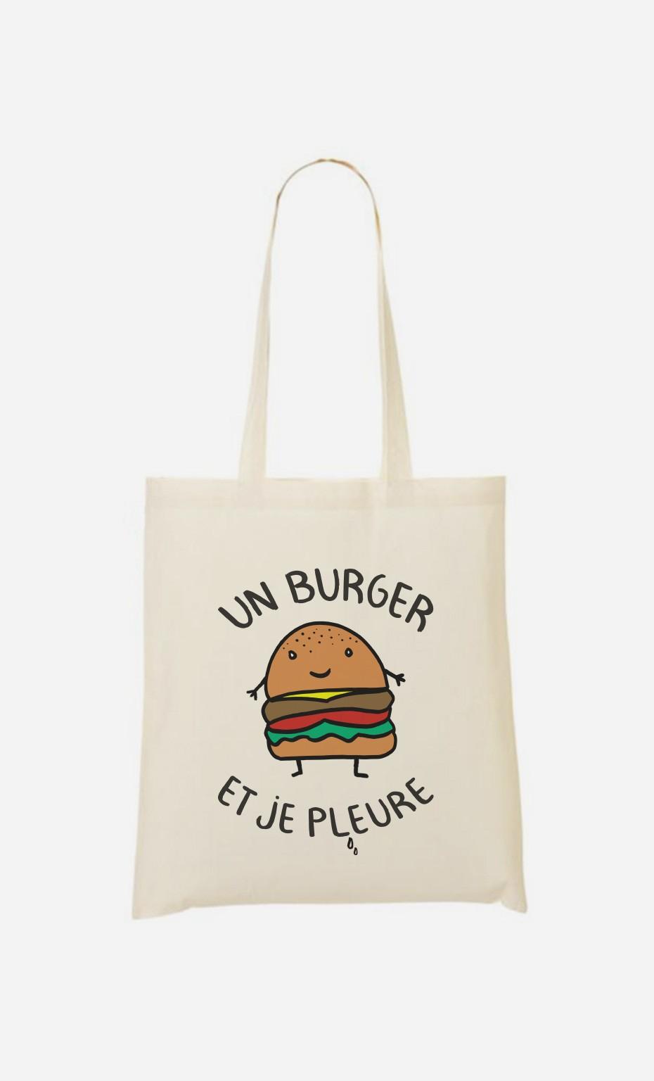 Tote Bag Un Burger et Je Pleure