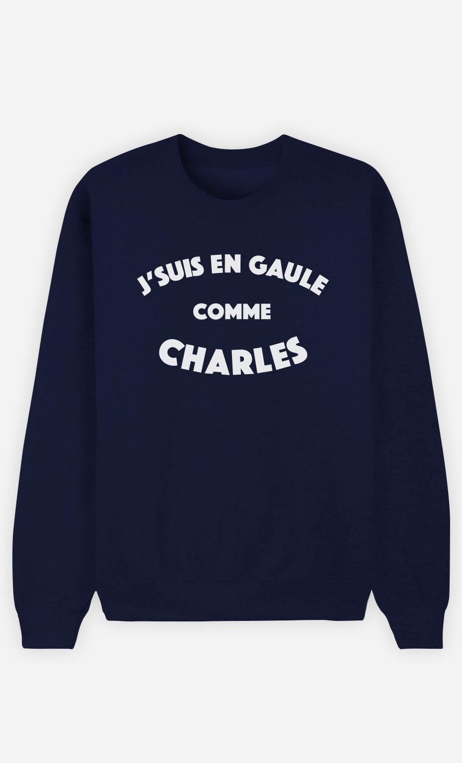 Sweat Bleu J'suis en Gaule comme Charles