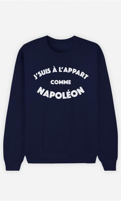 Sweat Bleu J'suis à l'Appart comme Napoléon