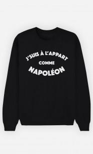 Sweat Noir J'suis à l'Appart comme Napoléon