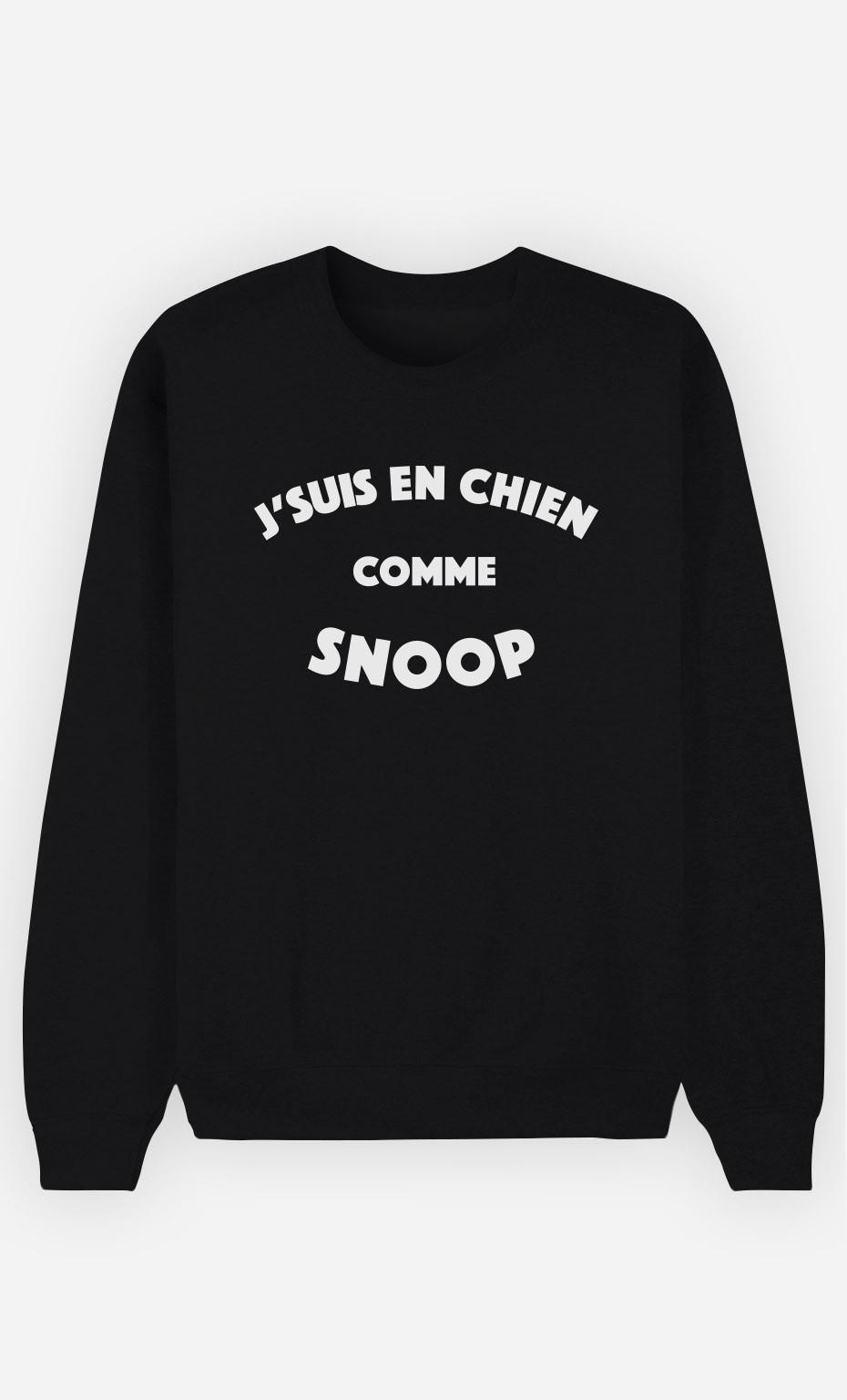 Sweat Noir J'suis en Chien comme Snoop