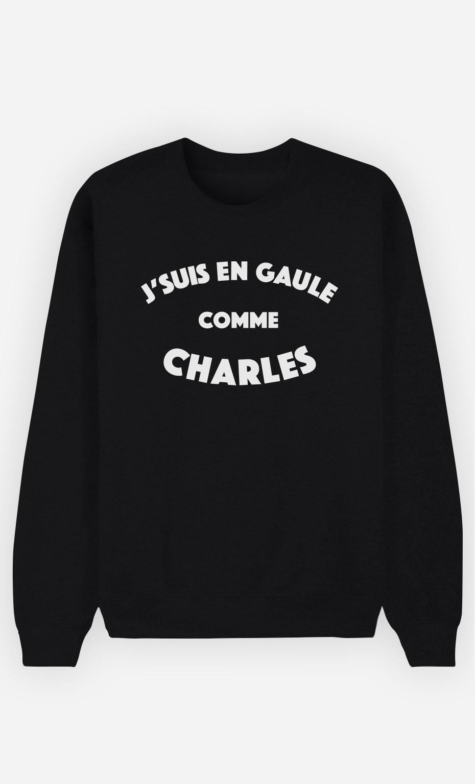 Sweat Noir J'suis en Gaule comme Charles
