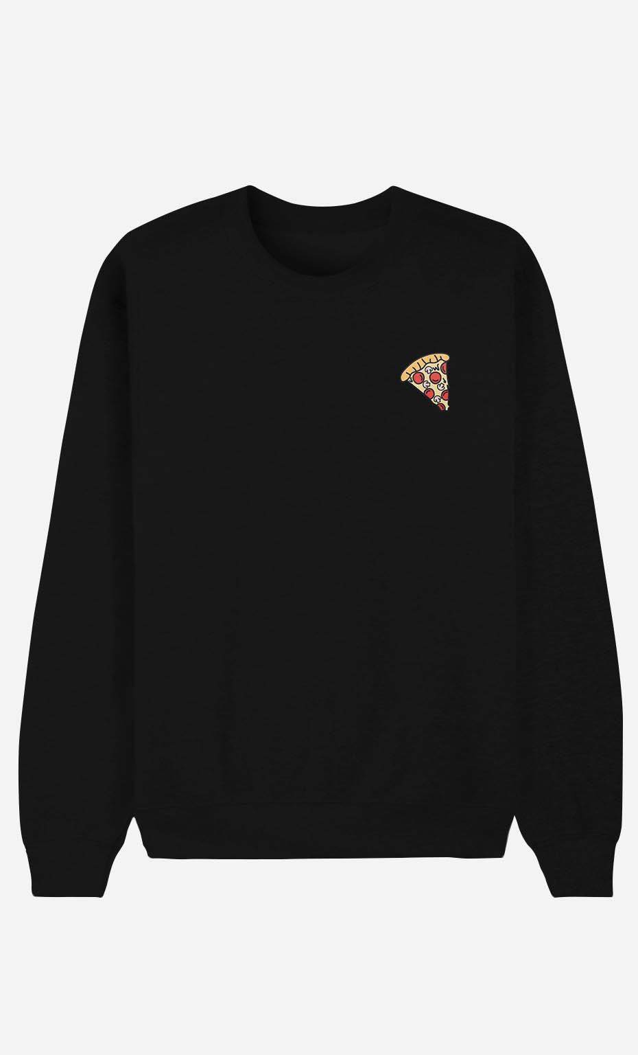 Sweat Noir Pizza - brodé