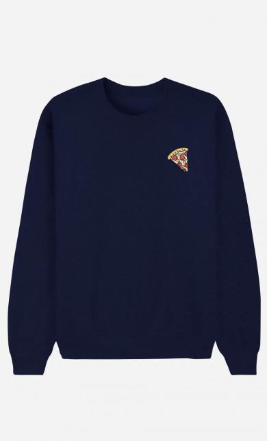 Sweat Bleu Pizza - brodé