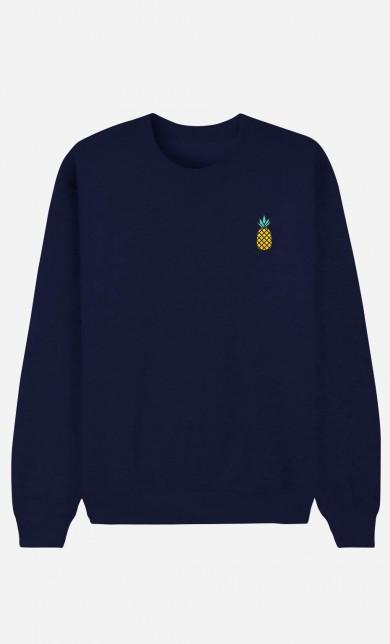 Sweat Bleu Ananas - brodé